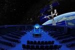 Das Zeiss Planetarium Bochum von innen: Die 360°-Projektion zeigt die Raumstation ISS und die Erde. Foto: Lutz Leitmann/Stadt Bochum