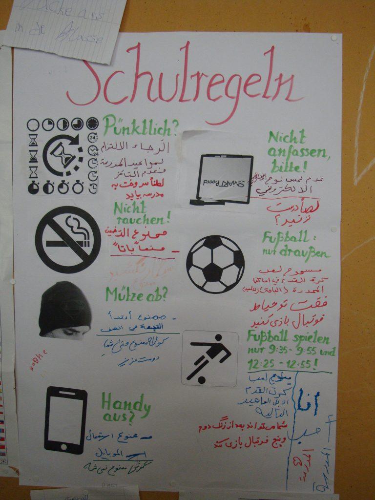 Regeln für eine Willkommensklasse in einer Berliner Schule. Foto: Jens-Olaf Walter / flickr (CC BY 2.0)
