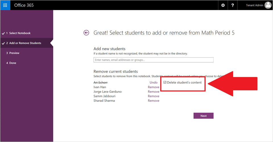 how to delete a onenote class book