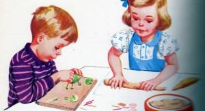 Jungen basteln, Mädchen backen: Illustration von 1953. Bild: libertygrace0 / Flickr (CC BY 2.0)