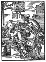 Im 16. Jahrhundert hießen die Vorgänger der heutigen Zahnärzte noch Zahnbrecher - hier Darstellung von 1568. (Bild: Wikipedia Gemeinfrei)