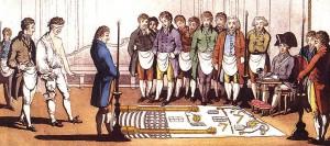 Aufnahme eines Kandidaten in die Bruderschaft der Freimaurer, Stich aus dem Jahr 1805. Illustration: Wikimedia Commons