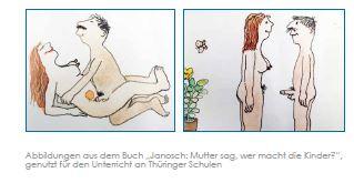 """""""'Steckt ihn in Mutters Puschel ...' 'Das heißt Vagina.'"""" - Die AfD (hier ein Ausriss aus ihrem Positionspapier mit den Zeichnungen von Janosch) empört sich über eine """"offensive Frühsexualisierung"""" von Kindern. Screenshot"""