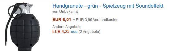 Handgranaten-Atrappen lassen sich im Internet für kleines Geld und ohne Altersbeschränkung bestellen - warum eigentlich? Screenshot