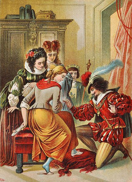 Da guckt sie aber, die böse Stiefmutter.  Aschenbrödel- Illustration von Carl Offterdinger / Wikimedia Commons