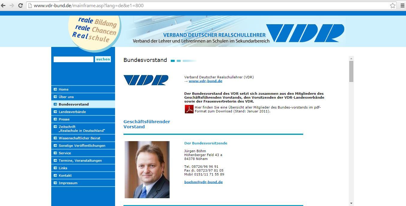 Der Bundesvorsitzender des Verbands Deutscher Realschullehrer, Jürgen Böhm, leitet nun auch den bayerischen Landesverband. Screenshot von www.vdr-bund.de