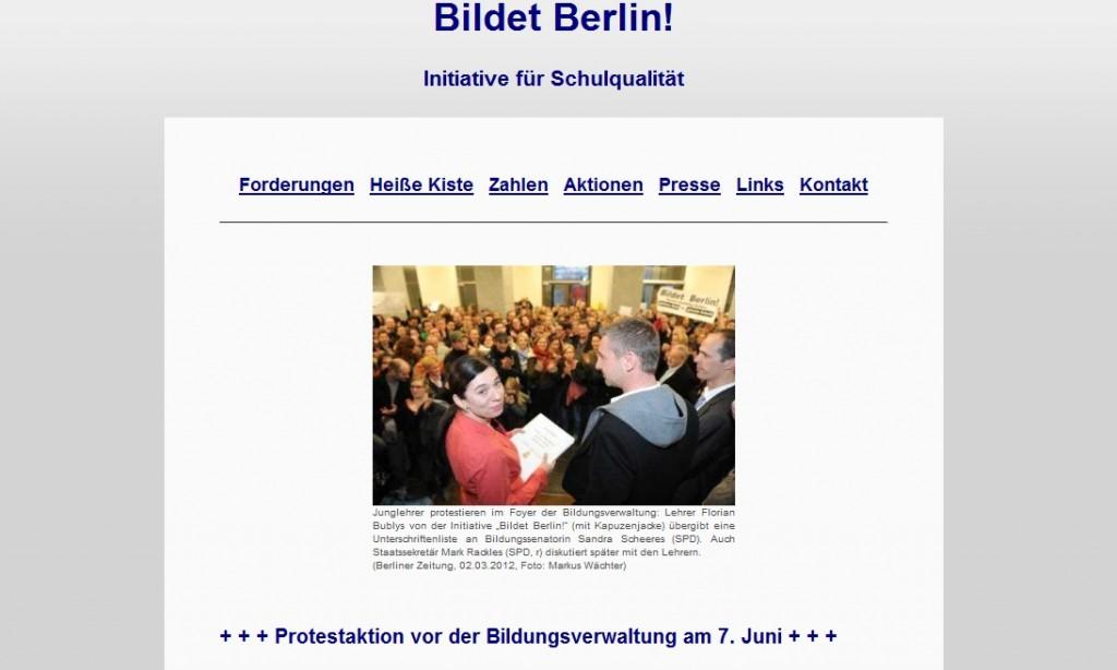 """Die Initative """"Bildet Berlin"""" legt sich jetzt online mit der Senatorin an. (Foto: Eigener Screenshot unter http://bildet-berlin.de/)"""