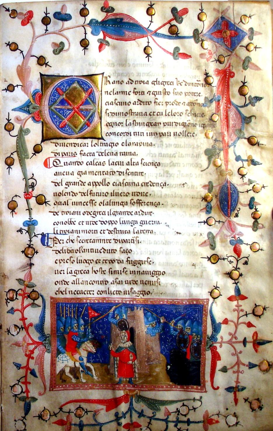 Die mit farbigen Miniaturen reich verzierte Handschrift von «Il Filostrato», einem Frühwerk des Dichters Giovanni Boccaccio von 1360, dürfte ein weltweit singuläres Werk sein. Foto: Wikimedia Commons