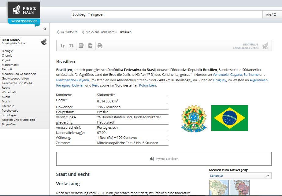 Der Brockhaus Wissensservice bietet zum Stichwort Brasilien zahlreiche Informationen. Screenshot