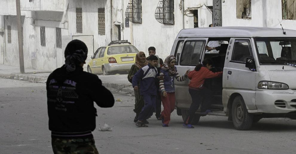 Flüchtende Zivilisten im Syrischen Bürgerkrieg