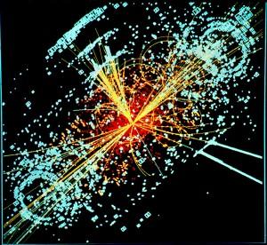 Simulation des hypothetischen Zerfalls eines Higgs-Teilchens in Teilchen-Jets am CMS/CERN. Illustration: Cern / Wikimedia Commons