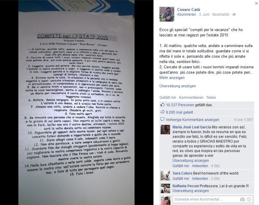 Die Sommerhausaufgaben des italienischen Lehrers Catà. (Foto: Eigener Screenshot)