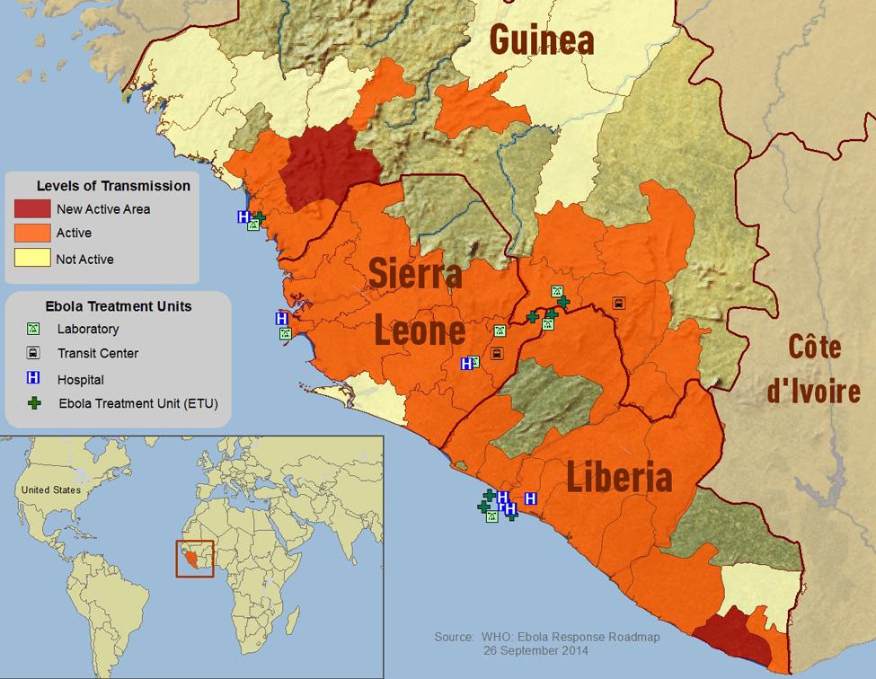 Die Ausbreitung von Ebola in Westafrika. Illustration: Wikimedia Commons