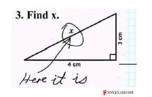"""Finde X"" - ""Hier ist es."" Illustration: Funnyexam.com"