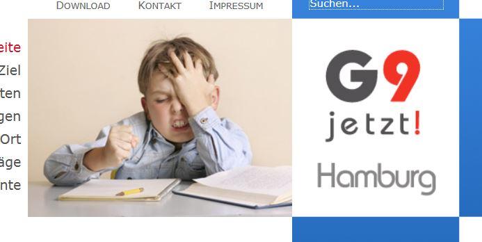 Homepage der Initiative «G9-Jetzt-HH», Screenshot.
