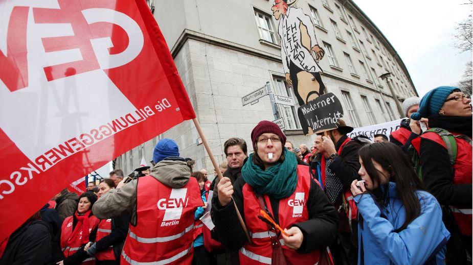 Rund 400 Lehrkräfte habe heute in Berlin gestreikt. Foto: GEW