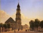 Die (im Krieg bereits schwer beschädigte) Garnisonskirche Potsdam wurde 1968 von den DDR-Behörden gesprengt - sie galt als Verehrungsstätte der preußischen Monarchie. Gemälde von 1827. Quelle: Wikimedia Commons