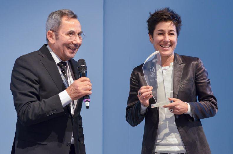Didacta-Präsident Fthenakis und Journalistin Hayali. Foto: Koelnmesse