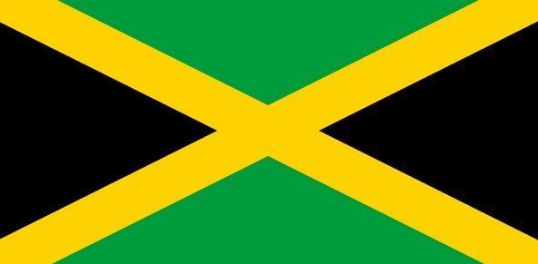 Schwarz-gelb-grün: die Flagge von Jamaika. Illustration: Wikimedia Commons