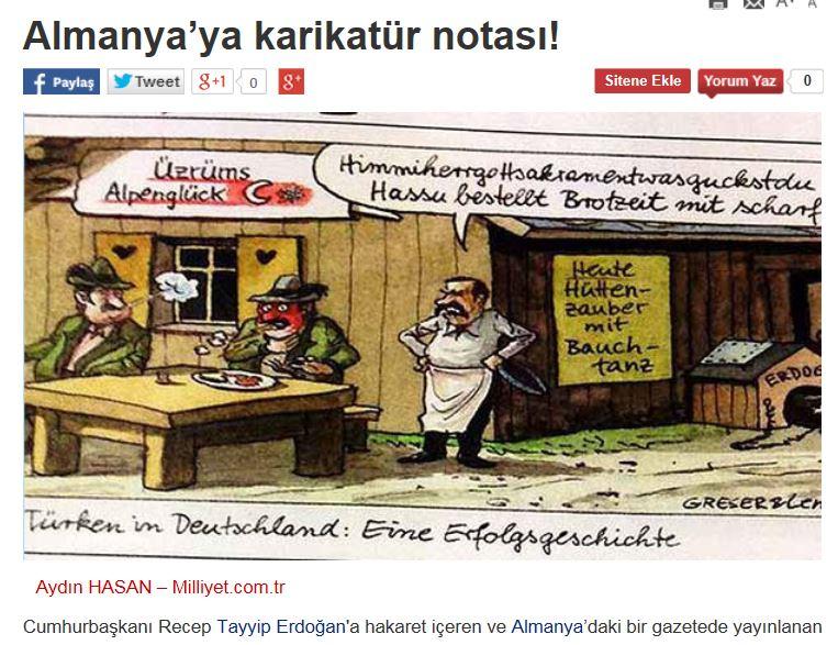 """Die Zeitung """"Miliyet"""" veröffentlichte in ihrem Online-Auftritt die Karikatur der Zeichner Greeser & Lenz. Rechts im Bild: der Hund des Anstoßes. Screenshot"""