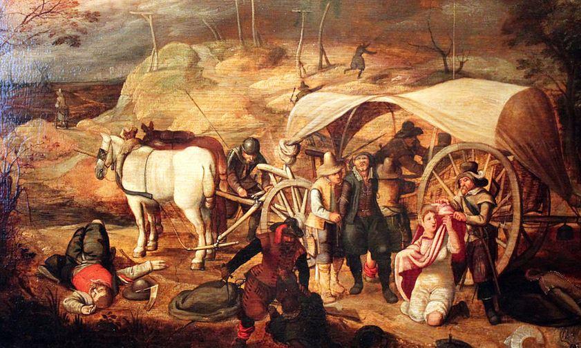 Was können wir heute vom 30-jährigen Krieg lernen? Gemälde von marodierenden Soldaten (Sebastian Vrancx 1647, Deutsches Historisches Museum Berlin). Foto: Wikimedia Commons