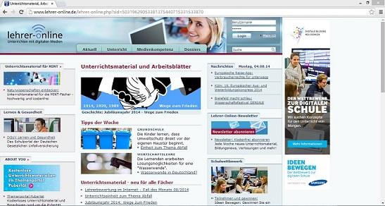 """Das Serviceportal """"Lehrer-Online"""" bietet Lehrkräften aller Schulformen und -stufen kostenlose Unterrichtsmaterialien. Screenshot von www.lehrer-online.de"""