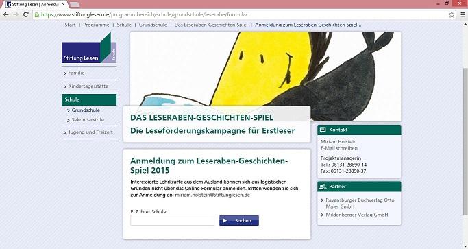Interessierte Lehrer können ihre Klasse online für das Leseraben-Geschichten-Spiel 2015 anmelden. Screenshot: https://www.stiftunglesen.de/programmbereich/schule/grundschule/leserabe/formular