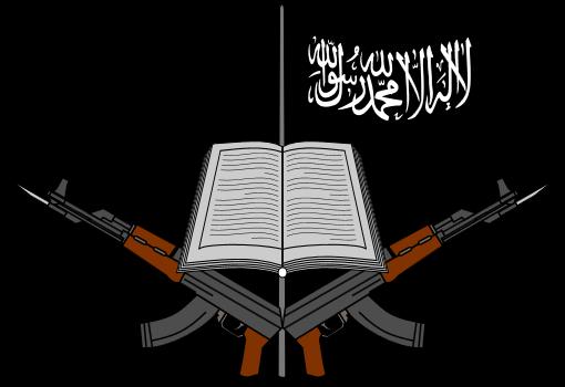 """Das Logo von Boko Haram stellt den Kampf gegen Bücher in den Mittelpunkt. (Bild: """"Logo of Boko Haram"""" von ArnoldPlaton - Eigenes Werk, based on screenshots from here. CC BY-SA 3.0 über Wikimedia Commons)"""