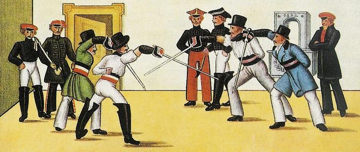 Eine Mensur ist ein traditioneller, streng reglementierter Fechtkampf zwischen zwei männlichen Mitgliedern von Studentenverbindungen mit scharfen Waffen. Illustriation: Wikimedia Commons