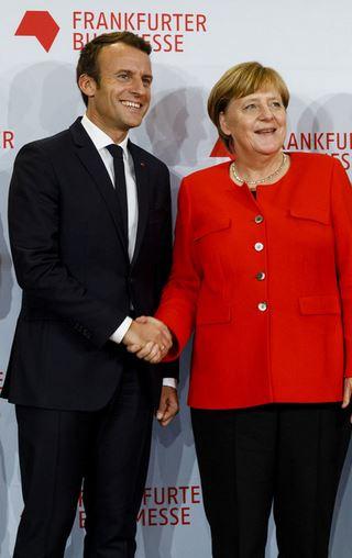 Macron und Merkel bei der Eröffung der Buchmesse. Foto: Marc Jacquemin / Frankfurter Buchmesse