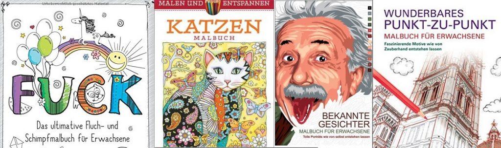 Malbücher gibt es zu den unterschiedlichsten Themen: Von Tieren über Prominente bis zu Gebäuden.