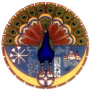 """Eine zentrale Bedeutung in den jesidischen Glaubensvorstellungen hat Taus-i Melek, der """"Engel Pfau"""", dessen Symbol ein Pfau ist. Nach der jesidischen Mythologie hat er in besonderer Weise der Allmächtigkeit Gottes gehuldigt und wurde deshalb von Gott zum Oberhaupt der sieben Engel erkoren. Illustration: Wikimedia Commons"""