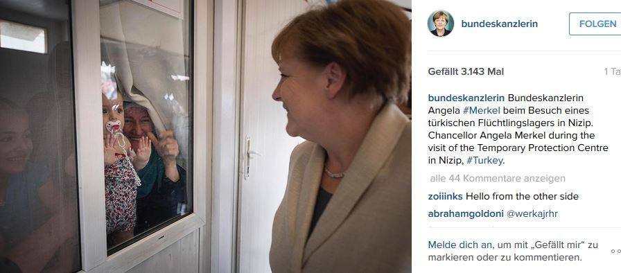 Auf der Instagram-Seite der Kanzlerin wird über den Besuch im Flüchtlingscamp berichtet. Screenshot