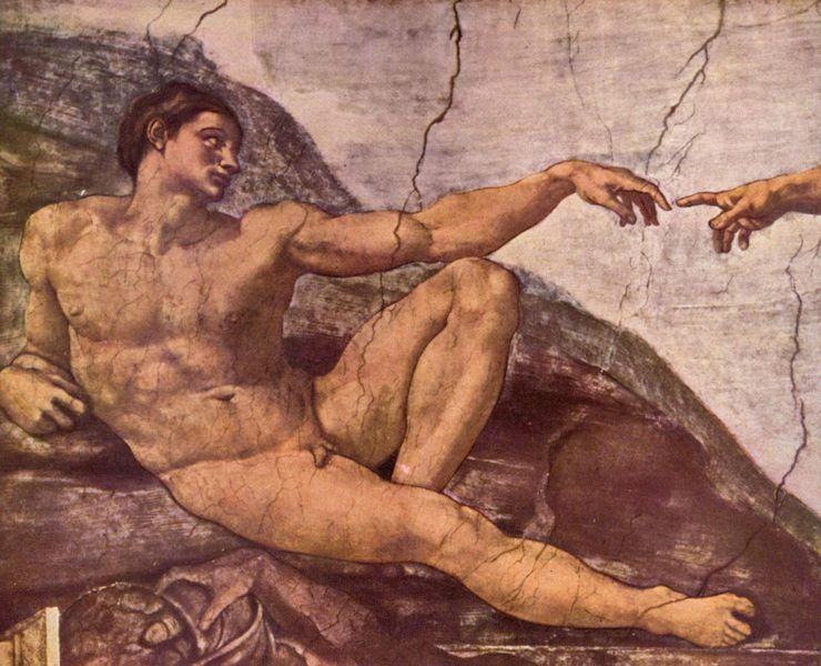 Lässt sich das Menschsein ohne Gottesbezug erklären? Detail aus dem Deckenfresko zur Schöpfungsgeschichte in der Sixtinischen Kapelle von Michelangelo. Foto: Wikipedia Commons