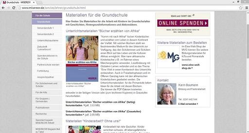 Das katholische Hilfswerk Misereor bietet auf seiner Internetseite Unterrichtsmaterialien zu entwicklungspolitischen Themen. Screenshot von www.misereor.de