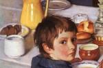 frühstückender Junge - Zweimal am Tag zu frühstücken halte Kinder gesund und leistungsfähig. Süßigkeiten sind dabei nicht unbedingt verboten Bild: Zinaida Serebryakova / Wikimedia Commons