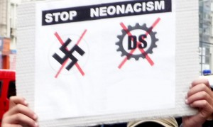 Protestplakat gegen Neonazis