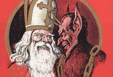Pädagogisch falsche Gesellschaft? Nikolaus und Krampus, wie der Knecht Ruprecht in Österreich heißt. Illustration: Wikimedia Commons