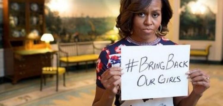 """Michelle Obama stellt sich an die Spitze der Kampagne """"Bring Back Our Girls"""". Screenshot aus Facebook."""