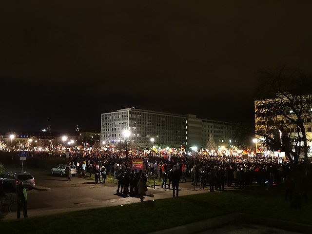 """PEGIDA DRESDEN DEMO 12 Jan 2015 115723972"" by Kalispera Dell - http://www.panoramio.com/photo/115723972. Licensed under CC BY 3.0 via Wikimedia Commons - http://commons.wikimedia.org/wiki/File:PEGIDA_DRESDEN_DEMO_12_Jan_2015_115723972.jpg#/media/File:PEGIDA_DRESDEN_DEMO_12_Jan_2015_115723972.jpg"