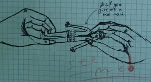 """""""Das sind Sie, wenn Sie mir eine schlechte Note geben."""" Illustration: funnyexams.com"""