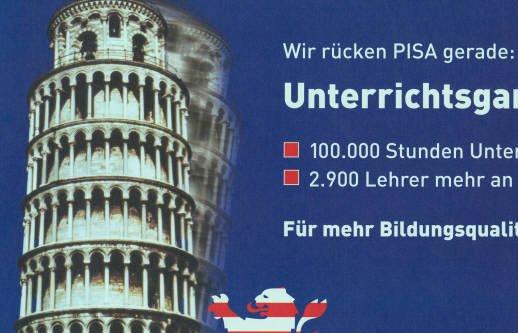 Der PISA-Schock vor 15 Jahren hat die Schulpolitik in Deutschland kräftig durchgerüttelt (Wahlplakat der hessischen CDU). Bild: CDU / Wikimedia Commons (CC BY-SA 3.0 de)