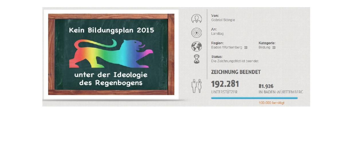 So präsentiert sich die Petitionsseite gegen die Aufwertung des Themas Homosexualität im Unterricht im Netz. Screenshot