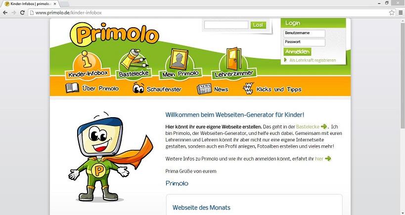 """Mithilfe des Webseiten-Generators """"Primolo"""" sollen Kinder die """"vor allem die aktive und verantwortungsbewusste Nutzung des Internets"""" lernen. Screenshot von www.primolo.de"""