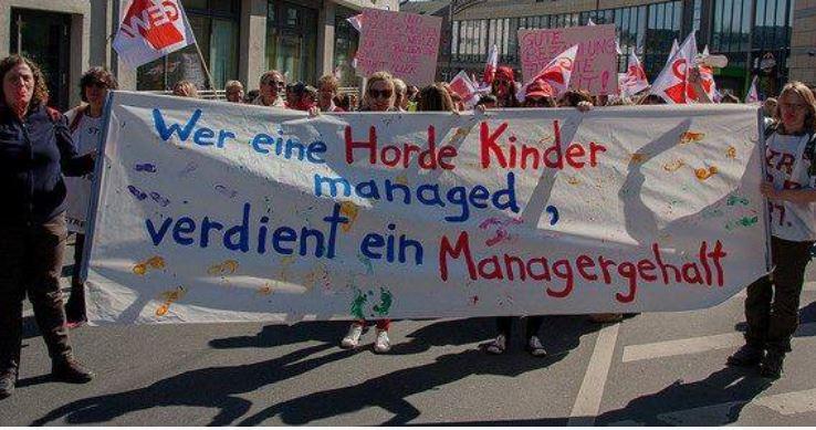 Die Kita-Beschäftigten vier Wochen lang gestreikt - Managergehälter gibt's trotzdem nicht. Foto: GEW