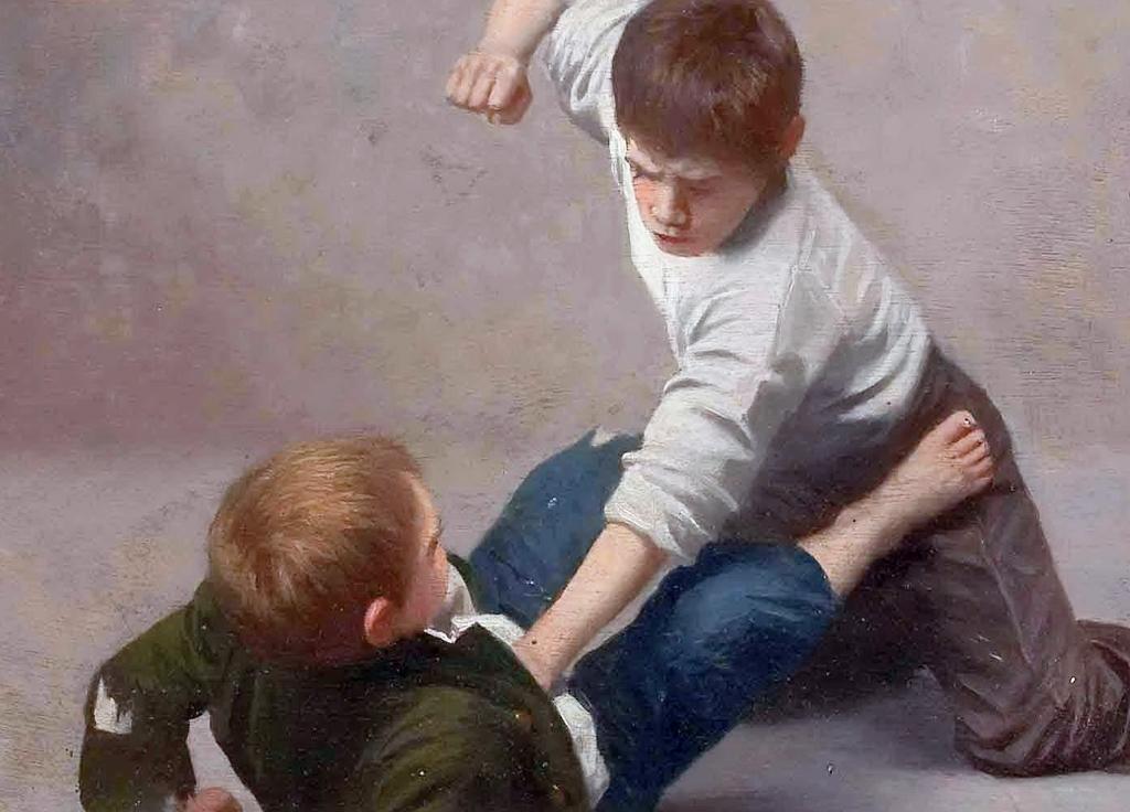 Nicht immer kommt die Gewalt so eindeutig daher, wie auf diesem Gemälde (von Giulio del Torre, 1927). Dorotheum GmbH / Wikimedia Commons