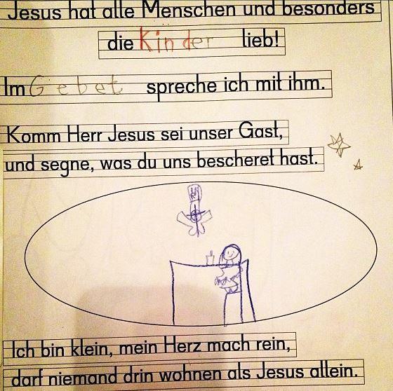 Heiliger Geist im Anflug: Arbeitsblatt im Religionsunterricht einer Grundschule. Foto: barockschloss / flickr (CC BY 2.0)