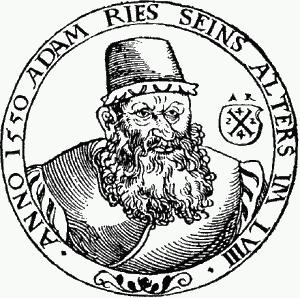 Eines der wenige überlieferten Porträts von Adam Ries auf einer zeitgenössischen Darstellung von 1550. (Grafik: Wikimedia)