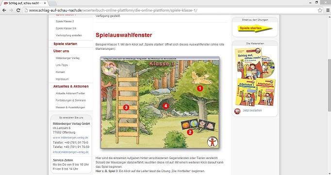 Mit den Spielen, die der Mildenberger Verlag im Internet anbietet, können Grundschüler den Umgang mit dem Wörterbuch üben. Screenshot von http://www.schlag-auf-schau-nach.de/woerterbuch-online-plattform/die-online-plattform/spiele-klasse-1/