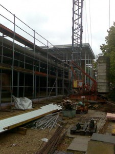 Baustelle an einer Schule (in Hildesheim)